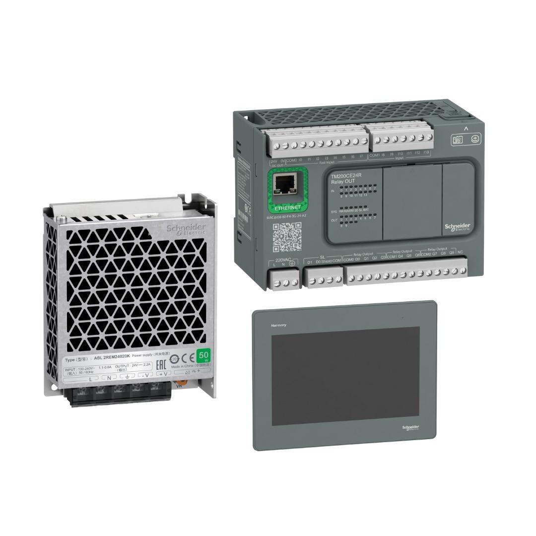 Kit de Automação IHM 10 Polegadas (HMIGXU5512) + CLP de 24 IO (TM200CE24R)+ Fonte 2,2A (ABL2REM24020K) Schneider